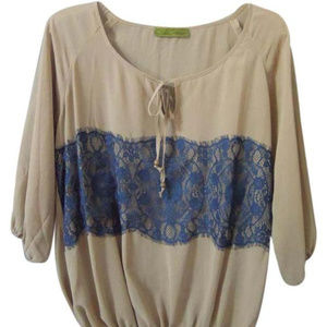sheer top with navy lace bodice